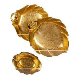 1930s Gold Leaf Serving Pieces - Set of 3 For Sale