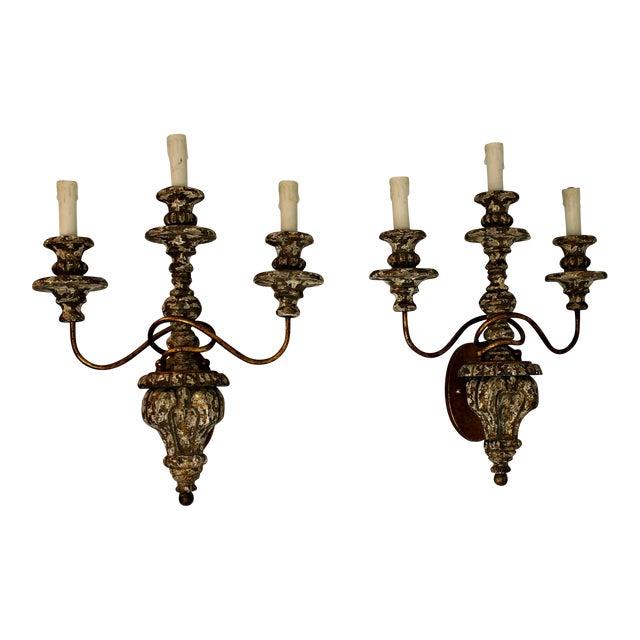 Carved Wood Sconce & Gold Leaf Metal Sconces - A Pair - Image 1 of 9
