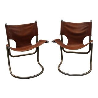 Italian Mid-Century Leather & Aluminum Chairs - a Pair