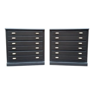 Lacquered Bachelor Chests With Brass Hardware by Bassett - a Pair