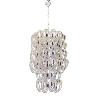 Angelo Mangiarotti 1970 Vistosi Crystal Murano Glass Chandelier With Purple Core For Sale