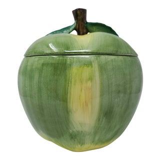 Vintage 1988 Fitz Floyd Large Green Apple Cookie Jar Made in Japan For Sale