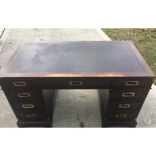 1970s Vintage Hekman Campaign Leather Top Desk Preview