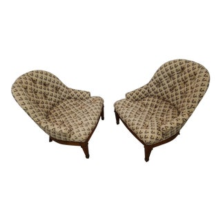 Mid-Century Tufted Slipper Chairs - A Pair
