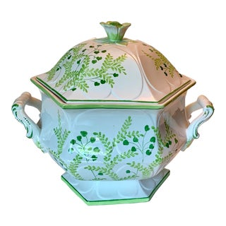 Vintage Italian Ceramic Green Floral Soup Tureen For Sale