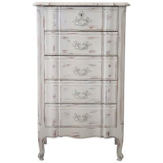 20th Century French Provencal Louis XV Style Painted Commode With Five Drawers For Sale