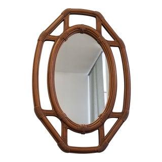 Large Vintage Faux Rattan Octagonal Mirror For Sale