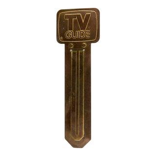 Vintage Brass Tv Guide Bookmark For Sale