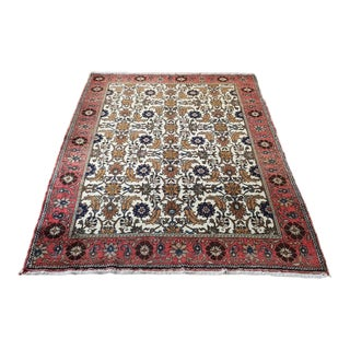 1970s Vintage Persian Handmade Sarouk Rug- 4′10″ × 7′3″ For Sale