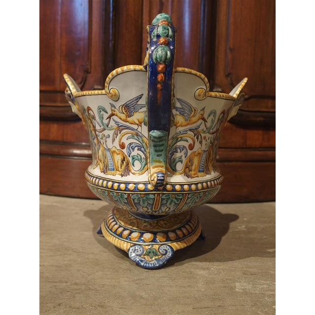 19th Century 19th Century French Faience Jardiniere, Antoine Montagnon, Nevers For Sale - Image 5 of 13