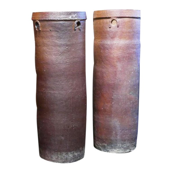 Brown Cylinder Vessels - a Pair For Sale