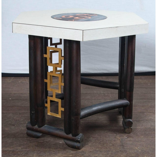 Wood 1950s Vintage James Mont Style Asian Modern Side Table For Sale - Image 7 of 11