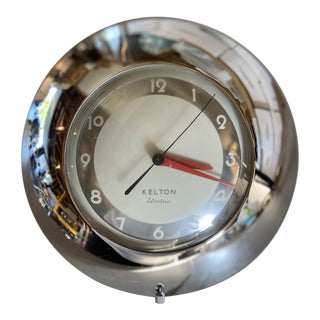 Mid-Century Modern Kelton Electric Chrome Clock For Sale