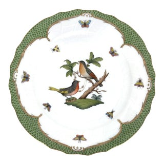 """Herend Rothschild Bird 10.5"""" Dinner Plate Gilt and Green Fish Scale Border 2 For Sale"""