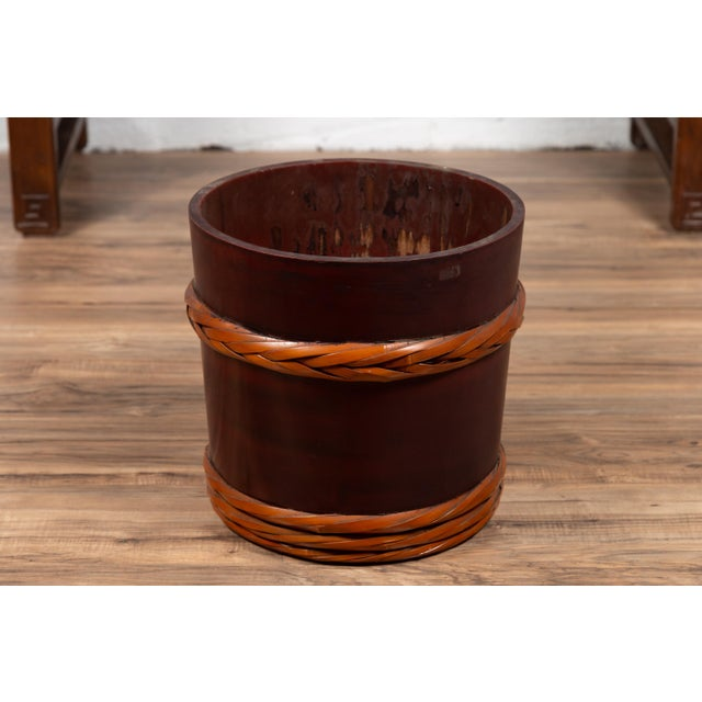 Maroon Vintage Chinese Wooden Barrel Planter with Rope Design with Red Undertone For Sale - Image 8 of 10