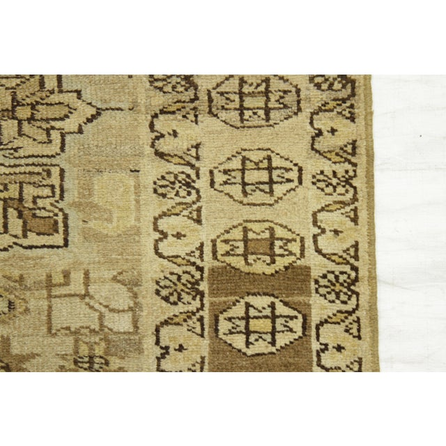 Textile Antique Persian Rug Saisan Style With Unique Geometric Patterns Circa 1950's - 3′ × 8′8″ For Sale - Image 7 of 11
