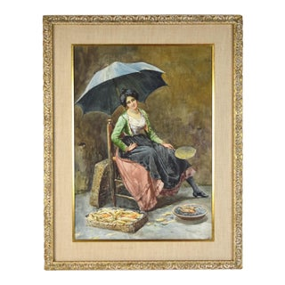 Early 20th Century Antique Italian Street Vendor Selling Corn W Umbrella Genre Painting For Sale