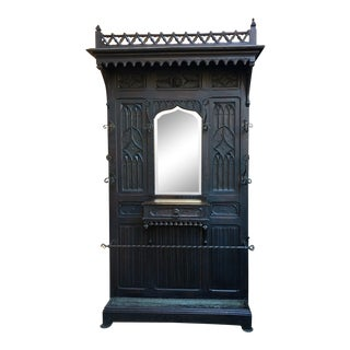 18th Century Antique French Gothic Carved Oak Hall Tree Mirror For Sale