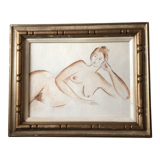 Original Vintage Female Nude Watercolor Painting For Sale