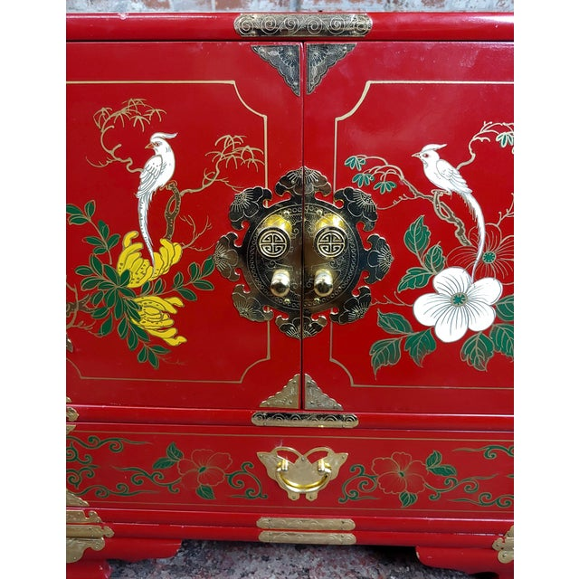 Paint Chinese Beautiful Red Lacquered Commodes - a Pair For Sale - Image 7 of 11