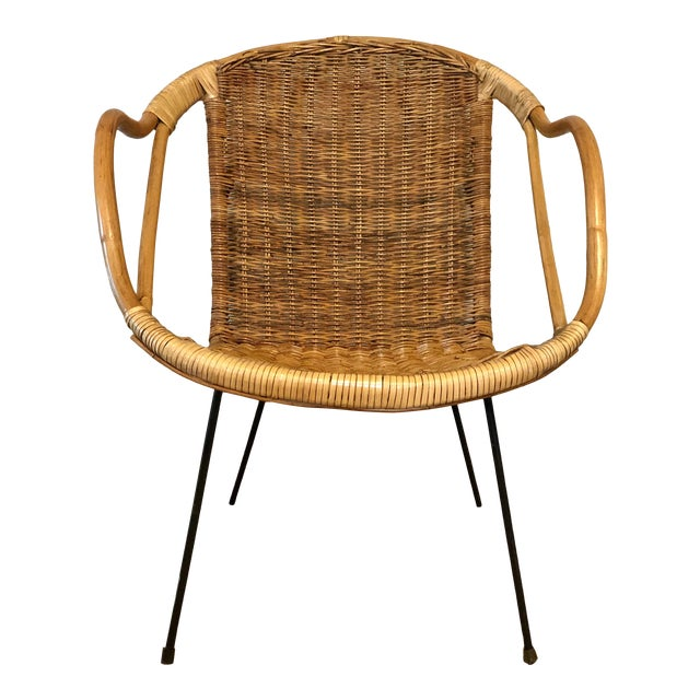Mid Century Italian Rattan & Sculpted Bamboo Boho Chic Chair For Sale