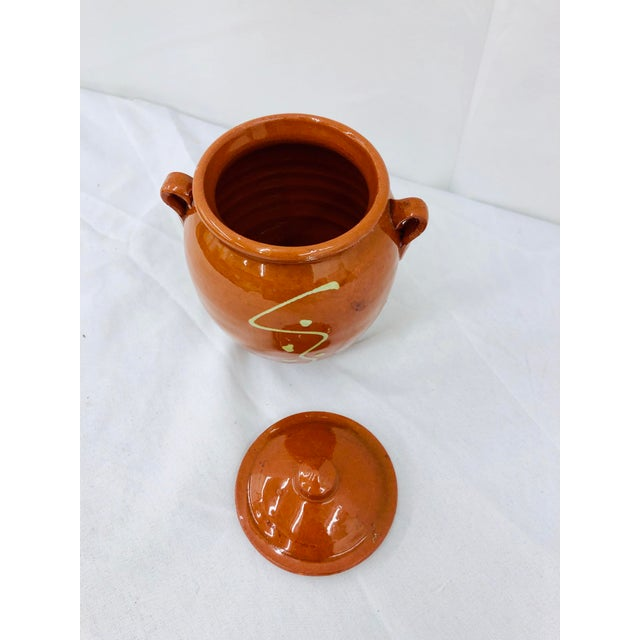 Early 20th Century Vintage French Hand Painted Terra Cotta Clay Pottery Mustard Jar For Sale - Image 5 of 7