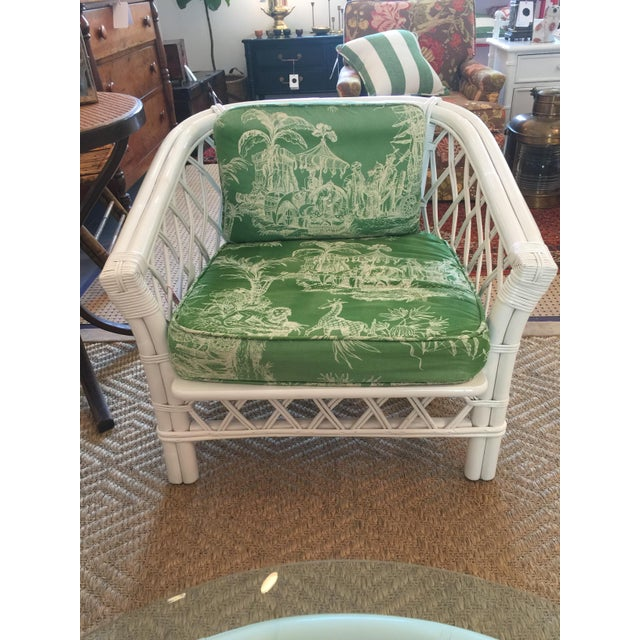 Classic Ficks Reed Barrel chair in vintage schumacher toile fabric. The fabric is a bit faded but the whole piece is in...