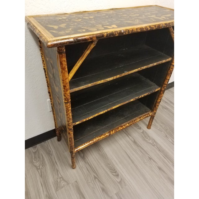 English Antique English Bamboo Decoupaged Bookcase With Butterflies For Sale - Image 3 of 13