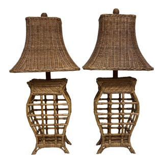 Asian Style Wicker Lamps - Pair For Sale