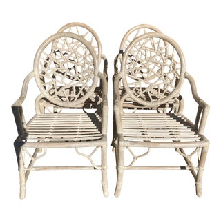 S/4 Cracked Ice Rattan Arm Chairs, Att. McGuire For Sale