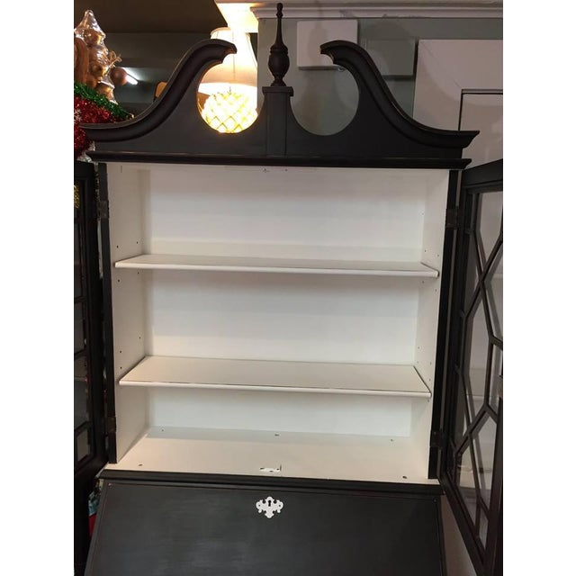 Traditional 1950s Traditional Black Secretary Desk with China Cabinet Hutch For Sale - Image 3 of 10