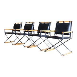 Mid-Century Modern Campaign Cleo Baldon for Terra Furniture Iron and Wood Arm Chairs - Set of 4