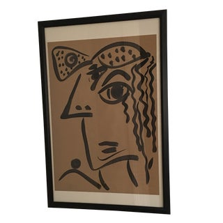 Peter Keil Large Cubist Face Abstract Painting