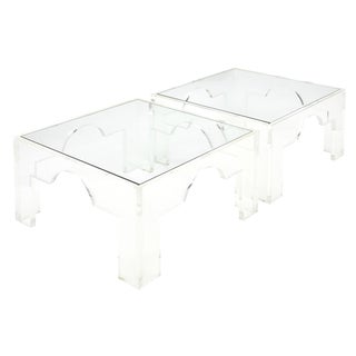 French Lucite and Glass Coffee Tables For Sale