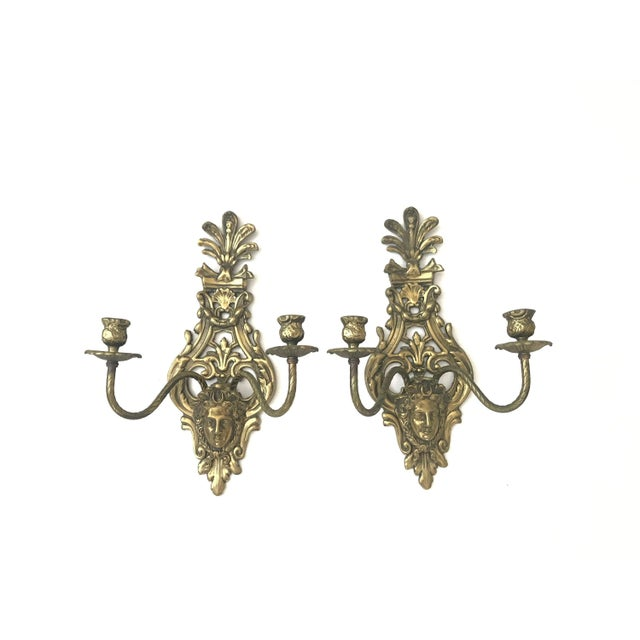 Vintage louis iv versace style large brass orante candle holders sconces of the period: louis iv, versace country: unknown...