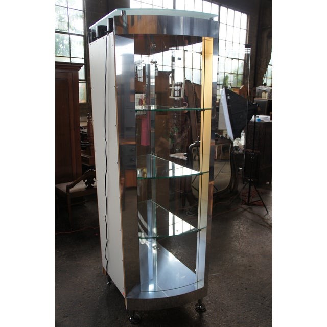 1990s Vintage Chrome Illuminated Modern Display Cabinet For Sale - Image 11 of 13