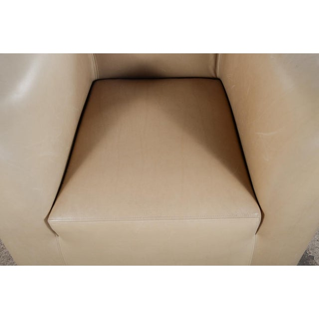 Tan Club Leather Chair With Ottoman -Designer For Sale - Image 8 of 10