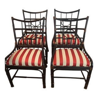 Black Wood Bamboo Dining Chairs - Set of 4 For Sale