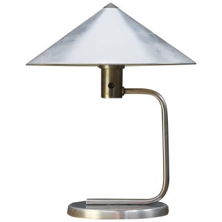 Rare 1930s Kurt Versen Machine Age Table Lamp in Polished Aluminium For Sale