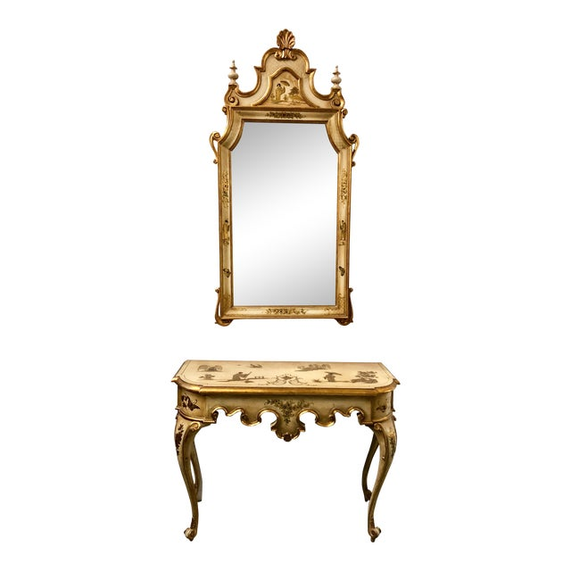Italian Chinoiserie Mirror and Console Table For Sale