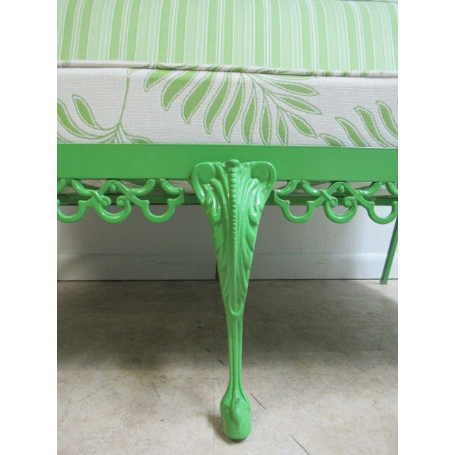 Green Vintage Green Aluminum Chippendale Ball & Claw Patio Chair For Sale - Image 8 of 11