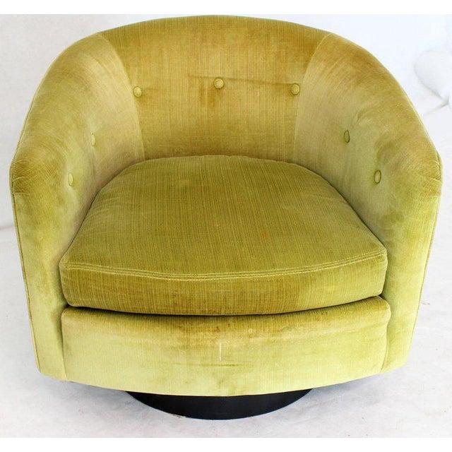 Textile Milo Baughman Single Lounge Chair Swivel Barrel Back Velvet Upholstery For Sale - Image 7 of 7