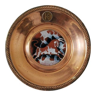 Grand Silver Co. Copper Plate With Enameled Bull For Sale