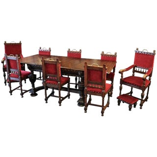 Renaissance Style Carved Wooden Dining Set