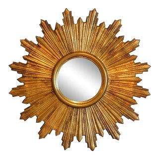 Mid Century Italian Gilt Sunburst Mirror For Sale