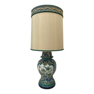 Vintage Hand Painted Ceramic Table Lamp W/ Original Shade by Marbro C.1970 For Sale