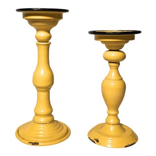 Canary Yellow Distressed Candlesticks - a Pair