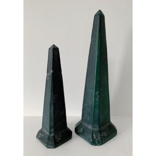Vintage Green Stone Obelisks - a Pair Preview