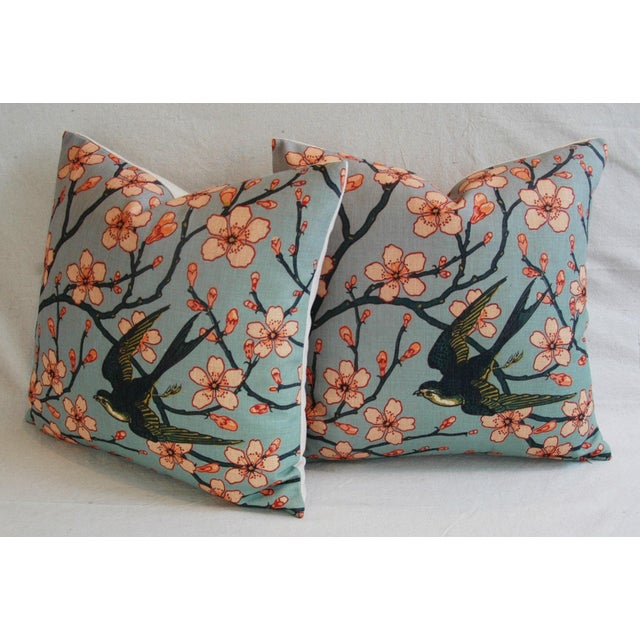 Fabric Magnolia Blossoms/Swallow Down & Feather Pillows - a Pair For Sale - Image 7 of 12