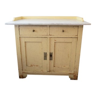 Pale Yellow Marble-Top Cabinet 19th Century For Sale